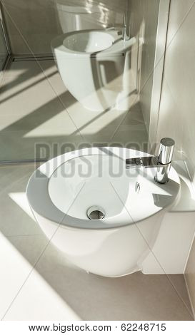 Modern bathroom, bidet, interior of a new house