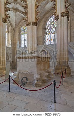 Batalha, Portugal - March 02, 2013: Batalha Monastery. Gothic Tomb of King Dom Joao I and Queen Dona Filipa de Lencastre in the Capela do Fundador - Founders Chapel.  UNESCO World Heritage Site.
