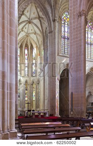 Batalha, Portugal - March 02, 2013: Batalha Monastery. Altar and  Apse of the Church. Gothic and Manueline masterpiece. Portugal. UNESCO World Heritage Site.