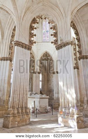 Batalha, Portugal - March 03, 2013: Batalha Monastery. Gothic Tomb of King Dom Joao I and Queen Dona Filipa de Lencastre in the Capela do Fundador - Founders Chapel. UNESCO World Heritage Site.