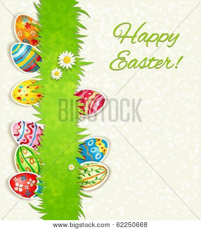 Holiday eggs on green grass. Easter background with place for text