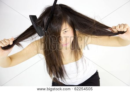 Unhappy Chinese Woman With Bad Messy Long Hair