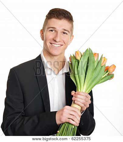 Young man with tulips