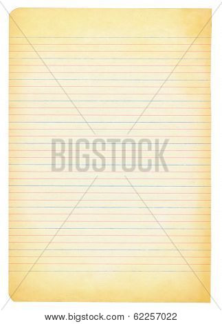 Yellowed Notebook Paper