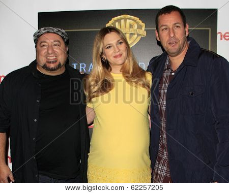 LOS ANGELES - MAR 27:  Frank Coraci, Drew Barrymore, Adam Sandler at the  CinemaCon 2014 - Warners Brothers Photocall at Caesars Palace on March 27, 2014 in Las Vegas, NV