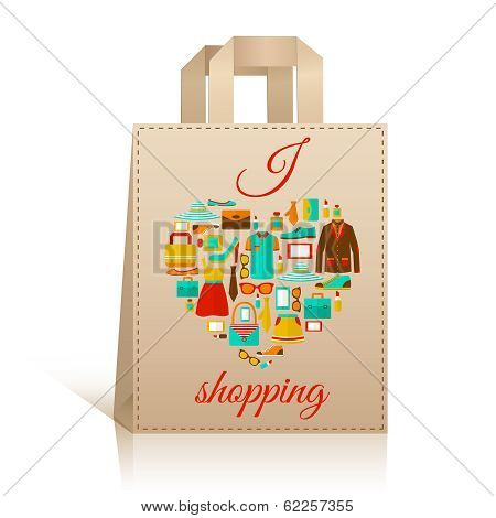 Love heart shopping bag symbol