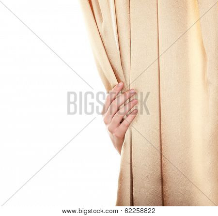 Hand opening curtain isolated on white