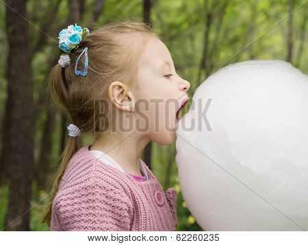 Girl and cotton candy