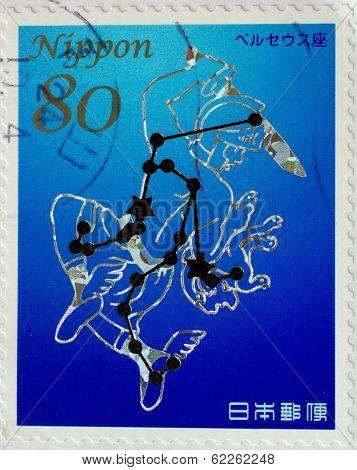 JAPAN - CIRCA 2011: A stamp printed in japan shows Perseus constellation, circa 2011