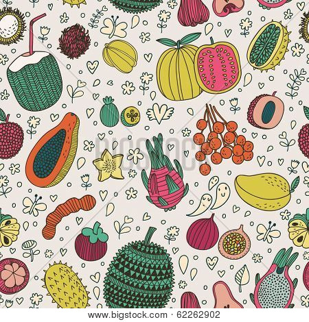 Dragon fruit, durian, longan, mangosteen, carambola, mango,  Tasty seamless pattern made of fruits in vector. Guava, annona, papaya, rambutan, tamarind, feijoa, litchi, kiwano, young coconut, passion