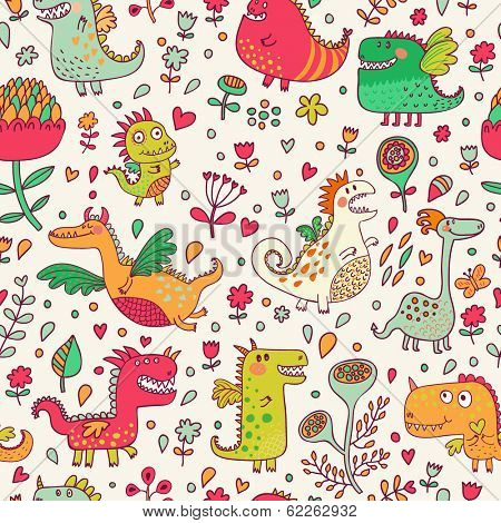 Bright fantastic background with flowers and cute dragons. Seamless pattern can be used for wallpapers, pattern fills, web page backgrounds,surface textures.