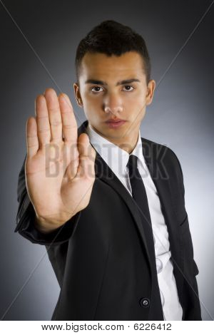 Business Man Saying Stop