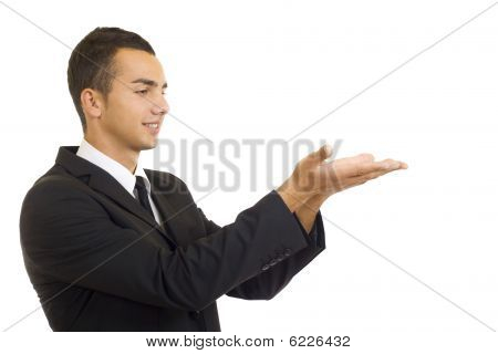 Man Showing Something On His Hands