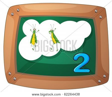 Illustration of a blackboard with two grasshoppers on a white background