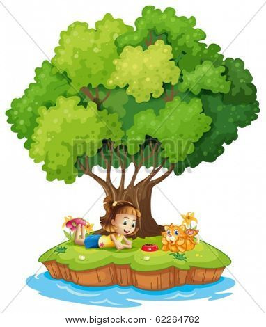 Illustration of an island with a girl and a cat on a white background