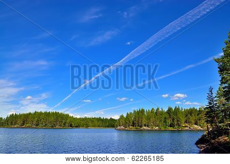 Karelian Landscape And The Trace Of The Plane