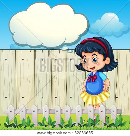 Illustration of a young girl at the backyard with an empty callout