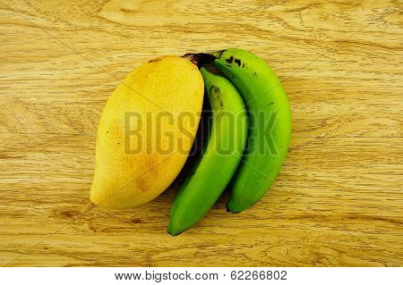 Big Mango Or Mangifera Indica And Banana