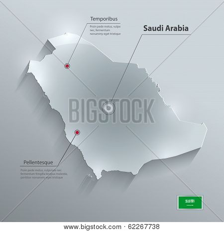 Saudi Arabia map flag glass card paper 3D vector