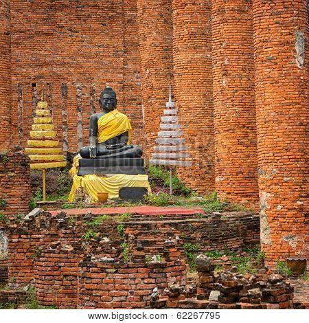 Old Buddha Statue In Temple Ruin. Ayuthaya, Thailand