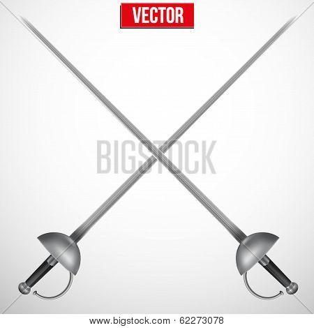 Pair of Fencing Rapiers. Realistic vector Illustration