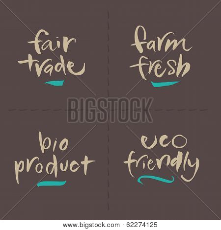 Hand written Vector Food Labels - Fair Farm Bio Eco