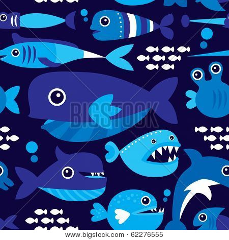 Seamless marine blue under water fish party illustration background pattern in vector