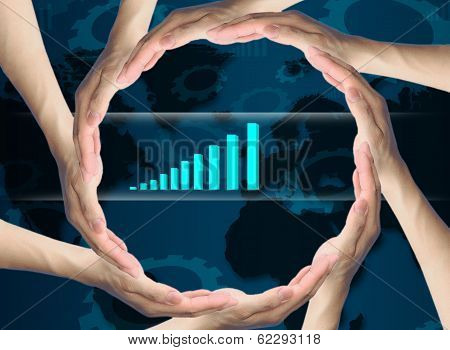 Fusion Human Hands Making A Circle  On Business Background