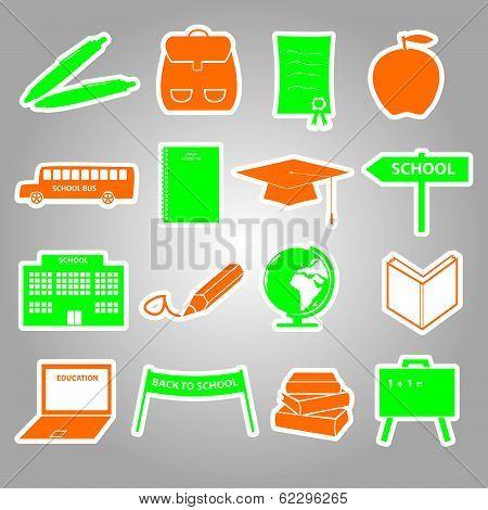 school stickers icon set eps10