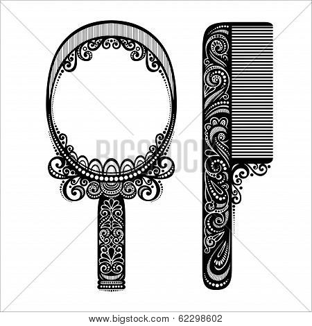 Vector Ornate Comb with Mirror