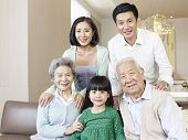 stock photo of grandpa  - home portrait of a three - JPG