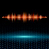 foto of waveform  - Orange shiny sound waveform with sharp peaks on hex grid - JPG