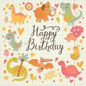 Happy birthday card in cartoon style. Cute holiday background with dinosaurs in vector