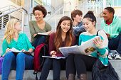 picture of school building  - Group Of High School Students Sitting Outside Building - JPG