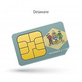 State of Delaware phone sim card with flag.