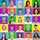 Multi-ethnic group with colorful background