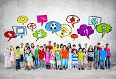 stock photo of ethnic group  - Large Group of Children - JPG