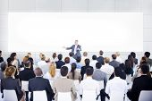 stock photo of speaker  - Large Business Presentation - JPG