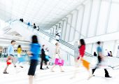 image of escalator  - Motion Blurred People in the Shopping Mall - JPG