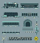 stock photo of railroad-sign  - Collection of retro style locomotive and train labels and icons - JPG