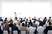 stock photo of team building  - Large Business Seminar With White Board - JPG