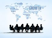 foto of globe  - World Business Meeting with Growth Concept - JPG