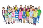 stock photo of pre-adolescent girl  - Large Group of Diverse World Children - JPG