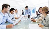 stock photo of leadership  - Group of Business People Working Together in Office - JPG