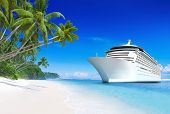 stock photo of cruise ship caribbean  - 3D Cruise Ship by Tropical Beach - JPG