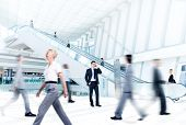 stock photo of escalator  - Business People at Rush Hour in Office Building - JPG