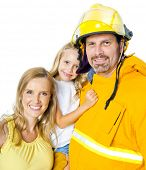 image of fireman  - Mother and Daughter with Fireman Father Smiling Together - JPG
