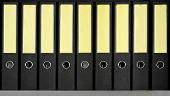stock photo of shelving unit  - Row of black archive folders on a bookshelf - JPG