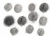 foto of backspace  - Print of coins a graphite pencil on a white background - JPG