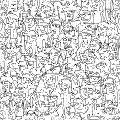 picture of youngster  - Singing children seamless pattern with doodled youngsters in black and white - JPG